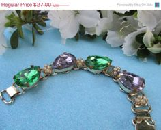 SALE Vintage Green and Purple Crystal Bracelet by Lavendergems, $24.30 #TeamLove #vintage #jewelry #Fashion #etsyretwt
