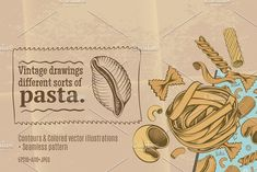 Freehand Pasta Drawing Set by Adiemus on @creativemarket
