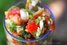 Cilantro Salsa.....I can't wait till I can pick fresh cilantro and tomatoes to make this!!!