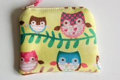 Mini-Sized Fabric Zippy Coin/Change Purse - Kids - Ladies - Gift - Owls by ToBagsFromStitches on Etsy