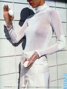"Vogue Paris April 1998 ""Blanc Absolu""  Model: Eva Herzigova  Photographer: Mario Testino  Fashion Editor: Carine Roitfeld"