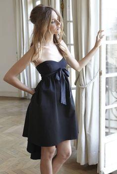 COOLCHICSTYLEFASHION  Delphine Manivet - Strapless black#dressand a#bowfor La Redoute