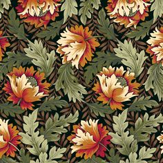 Brown Floral Green Leaves Allover William Morris Design Patchwork Fabric