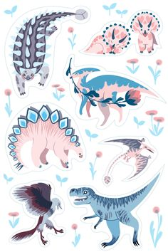 Dino stickers! Cut them out and use them to decorate your journal, folder, cup, laptop case, or whatever else you wish. Printed matte. 5.5X8 inches