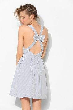 BDG Bow-Back Stripe Sweetheart Dress - Urban Outfitters