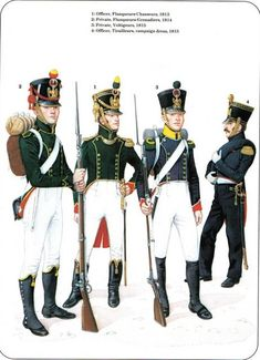Flanqueurs 1813-1815 1-Officier Grenadier 2-Grenadier  3-Voltigeur 4-officier Tirailleur