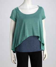 Take a look at this Teal & Blue Vera Hi-Low Layered Top by Luna Claire on #zulily today!