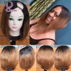 Ombre 8a grade brazilian virgin hair straight glueless u part human hair wigs two tone 2*4 u part short cut bob wig black roots http://www.aliexpress.com/item/Ombre-8a-grade-brazilian-virgin-hair-straight-glueless-u-part-human-hair-wigs-two-tone-2/32520294822.html?spm=0.0.0.0.8106N7