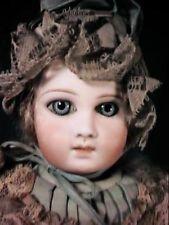 """Antique 13"""" Premier Jumeau Doll Marked 3 - Blue Factory Dress &  Bonnet / Outfit"""