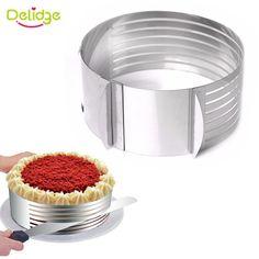 Delidge 1 unid de 16-20 cm de Acero Inoxidable máquina de Cortar de la Torta En Capas Ajustable Anillo Mousse Retráctil Circular Herramienta de Corte Redondo Cortador de la torta