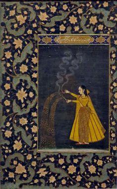 'Woman Holding Fireworks', 19th C.  Celebrating The night of Shab-i-barāt. Mughal ca.1735-40. India.