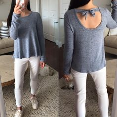 1901 Bow Back Long Sleeve Top, size XL