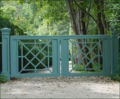 Chippendale Green Entrance Gate from Walpole Outdoors. Browse our large selection of Entry Gates, Automatic Gates, and Security Gates. Front Gates, Entrance Gates, Landscape Design, Garden Design, Walpole Outdoors, Walpole Woodworkers, Tor Design, Driveway Entrance, Farm Entrance