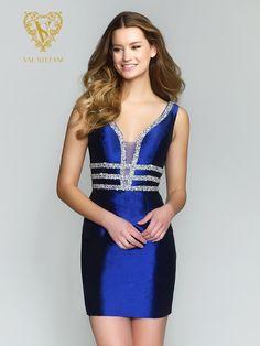 Style 3172RB | Val Stefani Cocktail | Embellished Deep V-Neck Party Dress With Straps