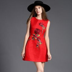 Red Embroidered Rose Dress – Lily & Co.