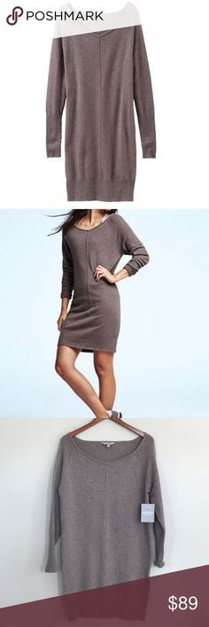 """Athleta Cashmere Adi Mudra sweater dress NWT, retail $248, Cashmere, soft and cozy taupe sweater dress, can be worn off the shoulder with a bralette, bus 20"""" across, waist 19"""", hips 19"""", length 35"""" Athleta Dresses Long Sleeve"""