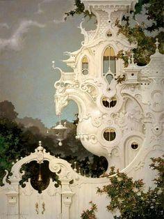 The Carriage House daniel merriam Art Nouveau Architecture, Futuristic Architecture, Beautiful Architecture, Beautiful Buildings, Art And Architecture, Beautiful Places, Fantasy Kunst, Fantasy Landscape, Illustration Art