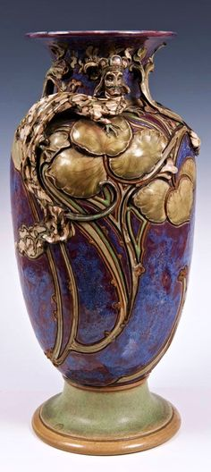 Rare Edwardian Royal Doulton stoneware vase, by Mark V. Marshall, with unusual Art