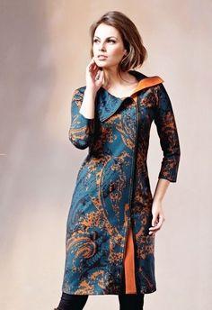 Fall autumn Herbst   orange teal petrol     Wunderschönes Mantelkleid Designerkleid Knielang Mehrfarbig Elegant Gr. 38 in Kleidung & Accessoires, Damenmode, Kleider | eBay