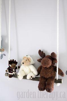 DIY Branch Swing Shelves by gardentherapy: So cute! #DIY #Branch #Shelves