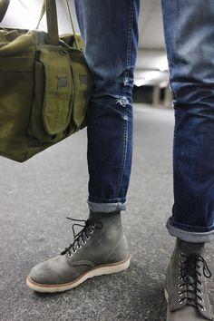 Urban Commando Style Army Green Duffel x Grey Suede Boots x Cuffed Jeans