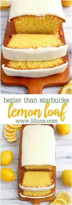 than Starbucks Lemon Loaf Dessert Bread Recipe via lil' luna - If you like Starbucks Lemon Loaf, then you'll love this moist, delicious Lemon cake! This easy to make recipe, is loaded with delicious lemon flavor, and topped with an amazing lemon frosting. Quick Bread Recipes, Quick Meals, Sweet Recipes, Cake Recipes, Lemon Recipes Baking, Quick Dessert Recipes, Frosting Recipes, Lemon Recipes Easy, Vegan Recipes