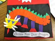 Chinese New Year Pattern Block Dragons Chinese New Year Activities, Chinese New Year Crafts, Holiday Activities, Learning Activities, Chinese New Year Dragon, Dragons, New Year Art, New Year's Crafts, Kids Crafts