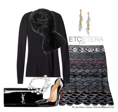 """""""Etcetera Holiday 2015: Sheba Sweater, Scallop Skirt, and the Coterie Muffler"""" by timirac on Polyvore featuring Yves Saint Laurent, Etcetera, Christian Louboutin and Marco Bicego"""