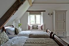 Wouldn't it be lovely to wake up in one of these dreamy cottage attic bedrooms? Check out these examples of wonderful attic bedroom designs and decor. Attic Bedroom Designs, Attic Bedrooms, Attic Design, Interior Design, Bedroom Curtains, Bed Design, Attic Playroom, Attic Loft, Attic Office