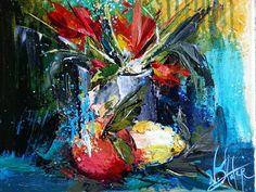 Palette knife painting by NicoleSlater.com #painting #flowers #fruit #art #paletteknife