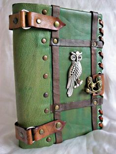 Items similar to Luxury handmade vintage look blank leather journal notebook with OWL emblem on Etsy. , via Etsy.