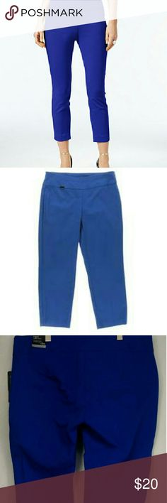 Alfani Woman Elastic Capri Pants Size 22 Price This Week Only!!!  Final Markdown!!!! No Offers!!!!!   Alfani Woman Elastic Tummy Control Capri Pants  Color:  Colbalt Sea/Bright Blue Material: 75% Rayon, 22% Nylon and 3% Spandex.  Size: 22W Measurements: 25 Waist, 25 Hips, 23 Length/Inseam, And 11 Rise. Alfani Pants Capris
