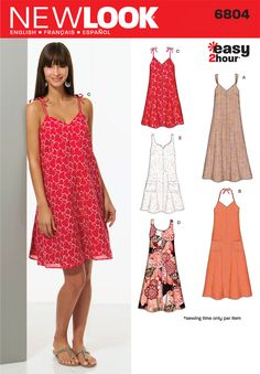 Womens Easy Two-Hour Dresses Pattern 6804 New Look Patterns  -- cotton, chambray, linen