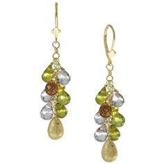 Effy Final Call Lemon Quartz and Peridot in Yellow Gold Earrings ($387) ❤ liked on Polyvore featuring jewelry, earrings, gold, gold earrings, peridot earrings, yellow gold drop earrings, 14 karat gold jewelry and clasp earrings