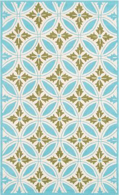 The Rug Market Resort Florin Blue 25307 Blue and Green and Cream Area Rug | Bold Rugs