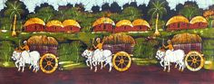 Farmer Going to Market (Batik Painting on Cotton Cloth - Unframed))
