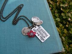 www.MyBellaMarketplace.com  #MyBellaMarketplace  My Greatest Blessings Call Me Mom Custom Hand Stamped Mommy Necklace with Resin Bloom and Swarovski Crystal by MyBella