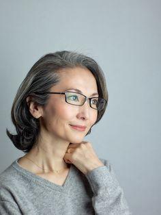 Japanese Gray Hair Style Mayuko Miyahara Mayuko from Japan #Over50's #grey