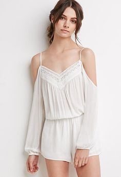 Open-Shoulder Crochet-Trimmed Romper | Forever 21 - 2000116487 - $22.90