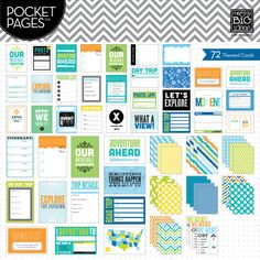 "Themed Cards -  Travel - Capturing memories is easy with POCKET PAGES™ journaling cards.  Each package contains 72 cards (12 - 4""x6"" cards and 60 - 3""x4"" cards).  There are a variety of horizontal and vertical layouts and each card has a journaling grid or dots printed on the back!"