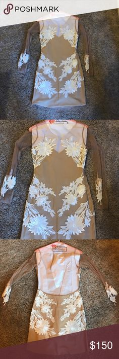 For Love And Lemons cocktail dress For Love and Lemons long sleeve Nude color with white flowers dress! Worn once excellent condition perfect for a night out or a Bride to be For Love and Lemons Dresses Mini