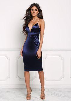 Navy Satin Cross Strap Plunge Bodycon Dress - Boutique Culture