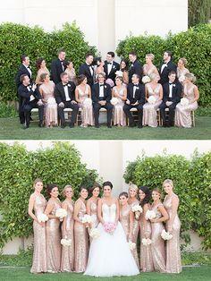gold and black wedding party attire @weddingchicks