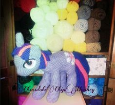 Handmade Crocheted Twilight Sparkle; inspired by My Little Pony.  listing at https://www.etsy.com/listing/198276823/my-little-pony-twilight-sparkle-crochet