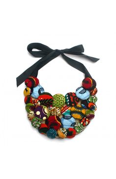 African print fabric covered buttons bib necklace.
