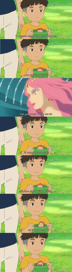 I remember going to go see Ponyo with my grandpa when I was younger. Ponyo's face at the end of this slide is so happy