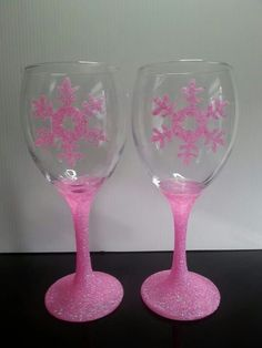 Pink glittered snowflakes
