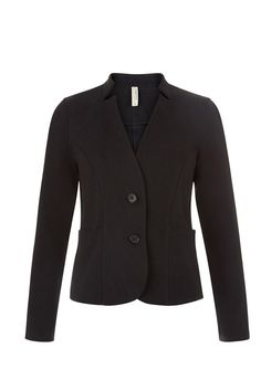 Black jacket in 95% organic certified cotton, 5% elastane. Medium weight jersey jacket with turn up notch collar. Front pockets and corozo buttons with long sleeves. Length 59cm.