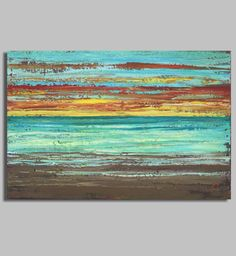 Painting Title: Sunset Beach This is a large original acrylic abstract sunset beach painting done in heavy impasto strokes (thick Abstract Landscape, Abstract Art, Beach Art, Sunset Beach, Your Paintings, Beach Paintings, Watercolor Paintings, Beach Scenes, Painting Inspiration