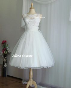 Sandra - Beautiful Vintage Inspired Tea Length Wedding Dress.. - opening the gifts dress
